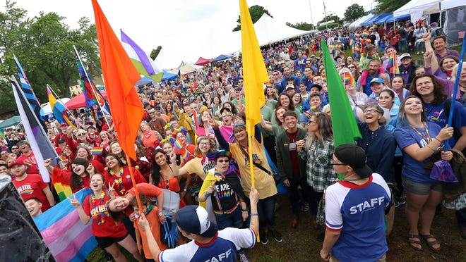 Seacoast Outright hosted the fourth annual Portsmouth Pride parade Saturday, June 23, 2018, seen in this file photo. In response to the 2020 coronavirus pandemic local Pride events this year are taking place online.