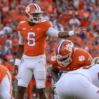 Clemson quarterback Zerrick Cooper (6) gets ready to