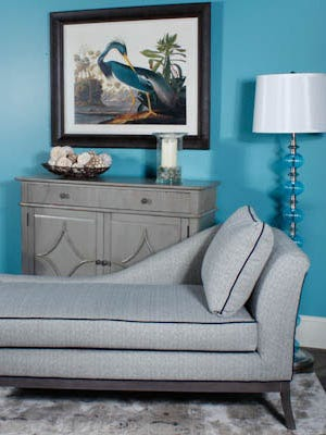 This arrangement shows the enduring appeal of basic grey and the popularity of mid-century designs.