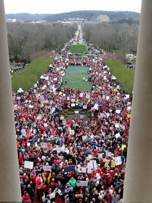 Thousands of Kentucky teachers and their supporters rallied April 2, 2018, at the state Capitol in Frankfort because of recent changes that the state legislature made to their pensions.