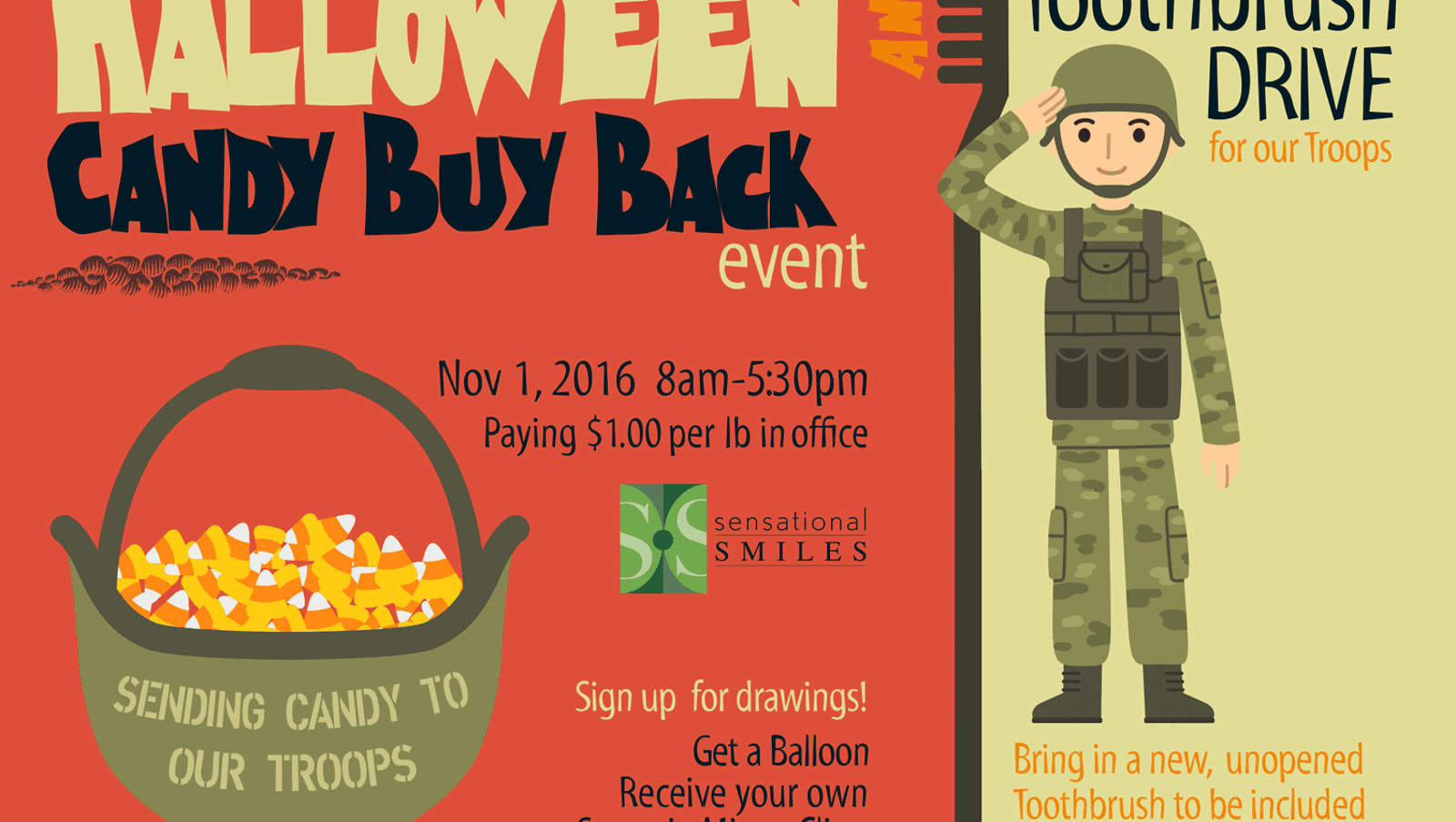 sell extra halloween candy to send to troops