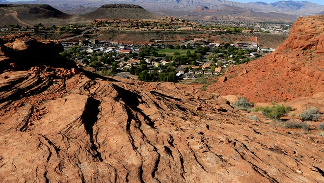 Owens Loop Trail in the Red Cliffs Desert Reserve above downtown St. George.