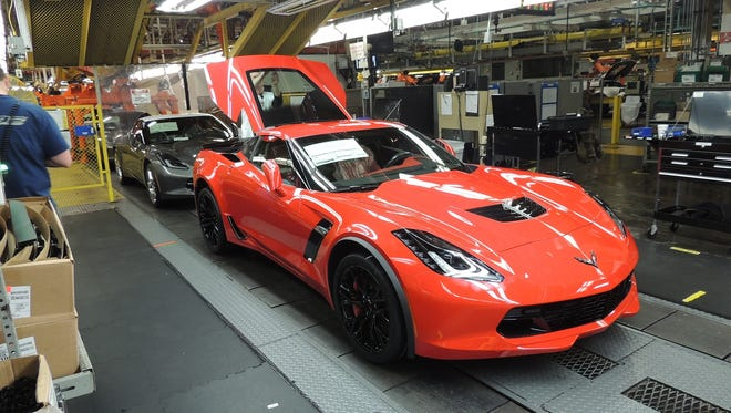 Corvettes are assembled at the General Motors Bowling Green Assembly Plant.