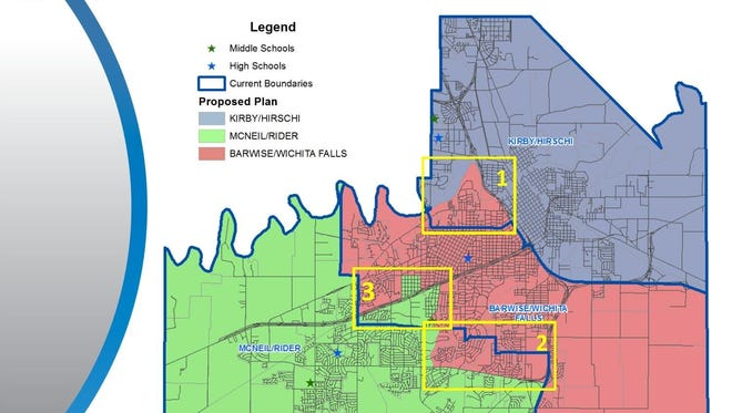 The Wichita Falls ISD school board approved changes to attendance zone boundary lines in this image from 2015. At a goal-planning session this week, the school board discussed its concerns with middle schools, particularly McNiel, being close to capacity and talked about whether or not it's time to talk with a demographer again and look at adjusting attendance zone lines.