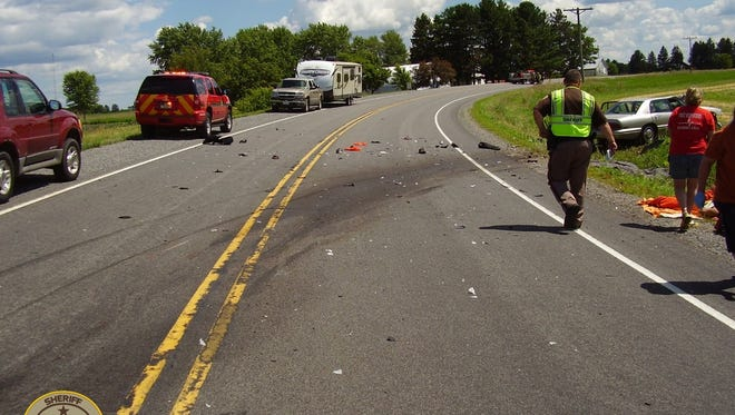 The scene of a fatal crash that happened shortly after 2 p.m. Saturday in the town of Alban in Portage County.