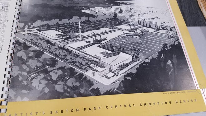 An artist's sketch of the Park Central mall is in a brochure enticing retailers to choose to do business there.