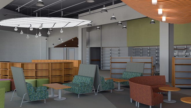 By fall Liberty Township  families will be able to check out books in a new, full-service branch of the library not too far from the Discovery Center. This rendering shows what furniture may look like.