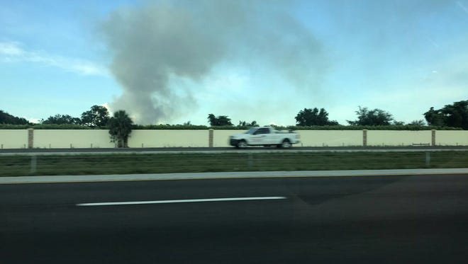 Smoke from a fire off Collier Boulevard and Broken Back Road, just north of Immokalee Road.