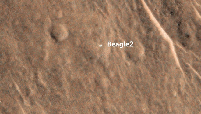 In this image provided by NASA an annotated image shows a bright feature interpreted as the United Kingdom's Beagle 2 Lander with solar arrays at least partially deployed on the surface of Mars. Beagle 2 was released by the European Space Agency's Mars Express orbiter but never heard from after its expected Dec. 25, 2003, landing.