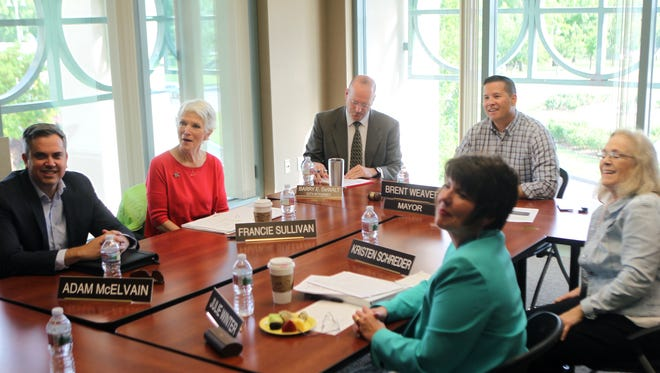 Redding City Council members Adam McElvain, from left, Francie Sullivan, City Attorney Barry DeWalt, Mayor Brent Weaver, Vice Mayor Kristen Schreder and Julie Winter meet Friday for a second round of interviews in the council's search for a new city manager.