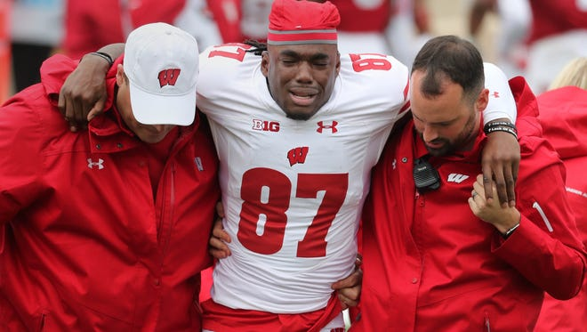 Badgers wide receiver Quintez Cephus is emotional as he leaves the field following a leg injury during Wisconsin's game at Indiana.