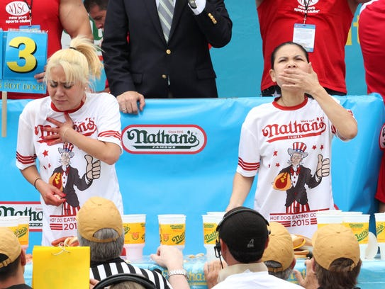 "Miki Sudo, left, and Sonya ""Black Widow"" Thomas compete"