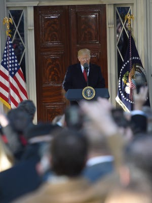 President Donald Trump addresses the gathering at The Hermitage Wednesday, March 15, 2017 in Nashville, Tenn.