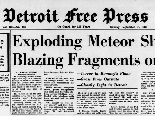 "The front page of the Sept. 18, 1966 edition of the Detroit Free Press includes the headline, ""Exploding Meteor Showers Blazing Fragments on State."""