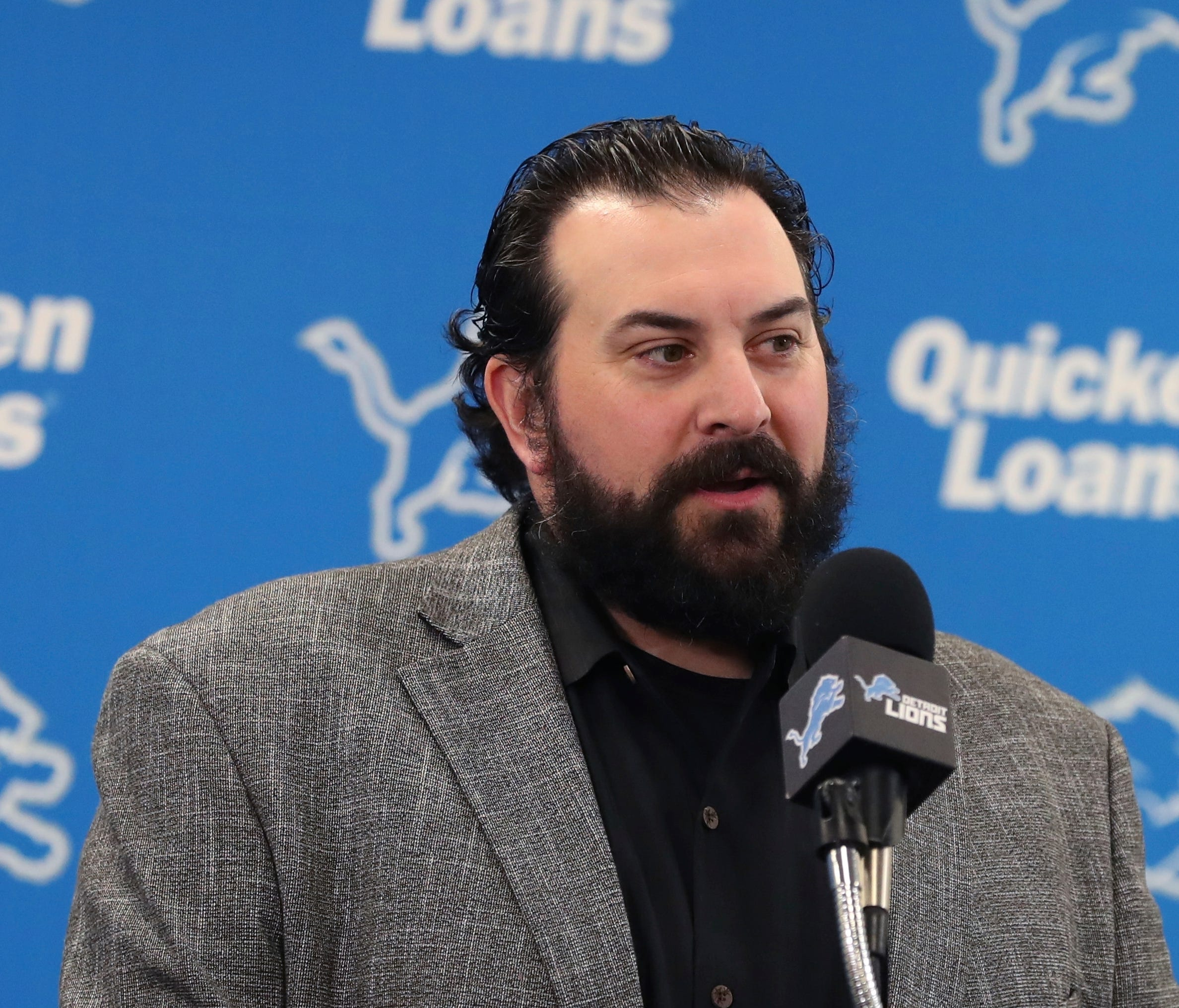 Detroit Lions head coach Matt Patricia introduces first-round draft pick Frank Ragnow at the team's training facility in April.
