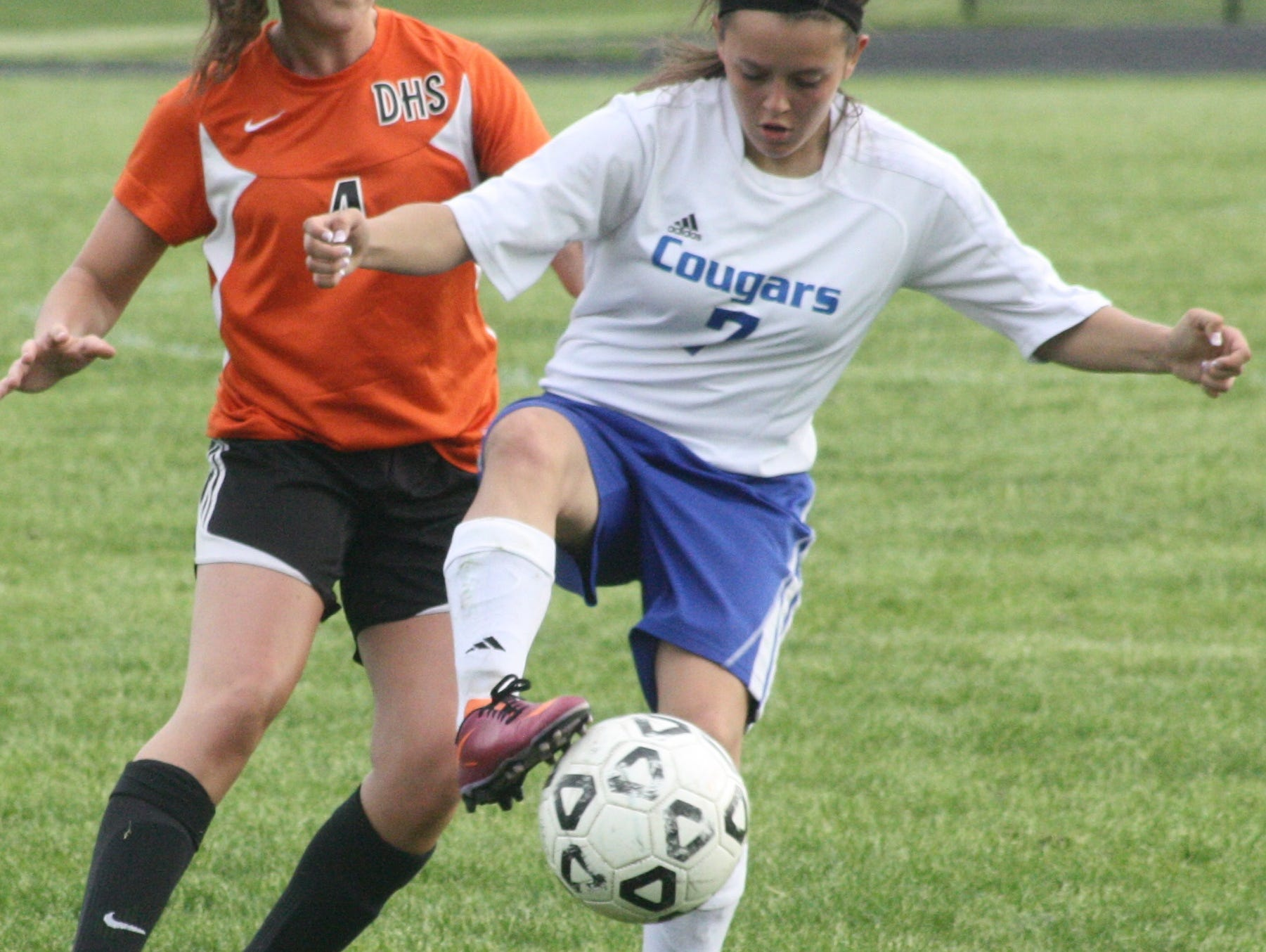 Gabby Castillo settles the ball during Monday's game against Dearborn.