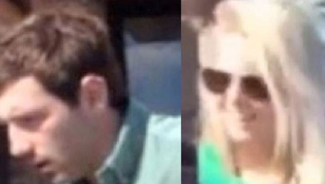 Police are looking for these two after officials say they were caught no camera having sex in the rear parking lot of Galleria Building located at 45 E. Main St.