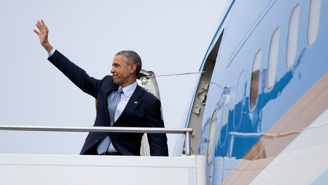 President Barack Obama boarded Air Force One at Louisville International Airport in Louisville, Ky., April 2, 2015, after touring and speaking about the economy at Indatus, a Louisville technology company that specializes in cloud-based products and services. The White House announced Wednesday, March 9, 2016, that Indianapolis is joining the TechHire initiative that includes Indatus.