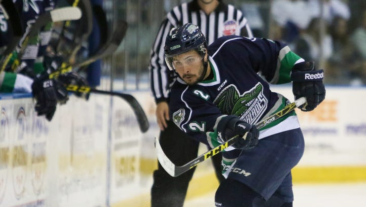 Everblades Chase Golightly (2) passes the puck alog the boards during the hockey game between the Wheeling Nailers and the Florida Everblades at Germain Arena in Estero, FL on Monday, April 25, 2016.