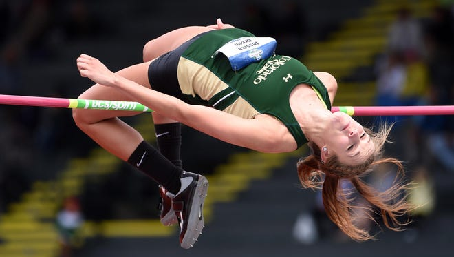 CSU senior Jessica Green clears 5 feet, 4 1/4 inches in the high jump Friday during the heptathlon competition in the NCAA outdoor track and field championships in Eugene, Oregon. Green was in 23rd place after the first day of competition.