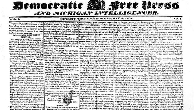 The first Detroit Free Press ever: the May 5, 1831, edition of the Democratic Free Press and Michigan Intelligencer.