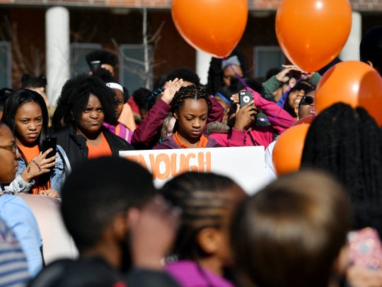 Students walk out from Creswell Middle Prep School