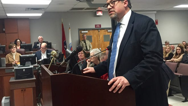 Robbie Beal, a new interim District 10 county commissioner, says he looks forward to working with the Williamson County commission on Mon. Feb. 12, 2018 in Franklin, Tenn.