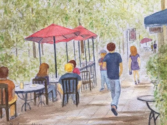 """""""Outdoor Cafe"""" by Barbara Shope"""
