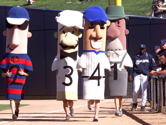 Sausages race between innings at Maryvale Baseball