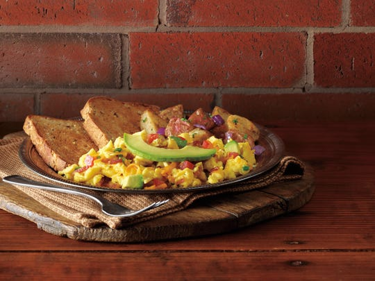 Corner Bakery Cafe features a menu of breakfast, sweets, paninis, pastas and salads. Shown here is the Anaheim scrambler.