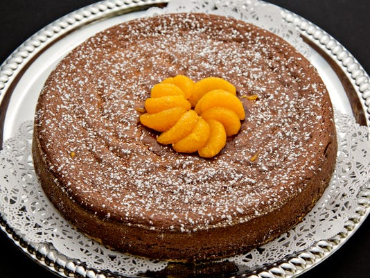 Orange, date and almond torte