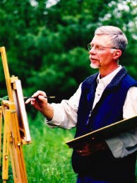 William Millonig of Campbellsport paints at an easel. Millonig's painting of a brown trout won the design contest for the 2017 Wisconsin inland trout stamp.