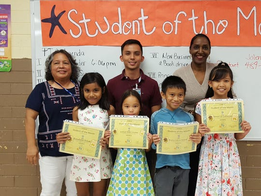 The Guahan Academy Charter School honored its October Student of the Month awardees on Feb. 8. Pictured in front from left: Ronalynn Billuk; Leolani Kani Lizama; Maden Gabriel Molinos and Amari Jo Lubasan. Back row from left: Mary Mafnas, Dean of Elementary School Guahan Academy Charter School; Matthew Tudela and Julie Wilter.