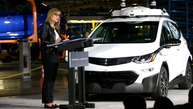 Mary Barra, Chairman and CEO of General Motors, talks with workers and members of the media at the Orion Assembly Plant in Orion Township, Mich., on June 13, 2017, announcing that the company has completed production of 130 Chevrolet Bolt EV test vehicles equipped with its next generation of self-driving technology.