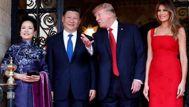 Presidents Trump and Xi Jinping, with their first ladies, in Palm Beach in April 2017.