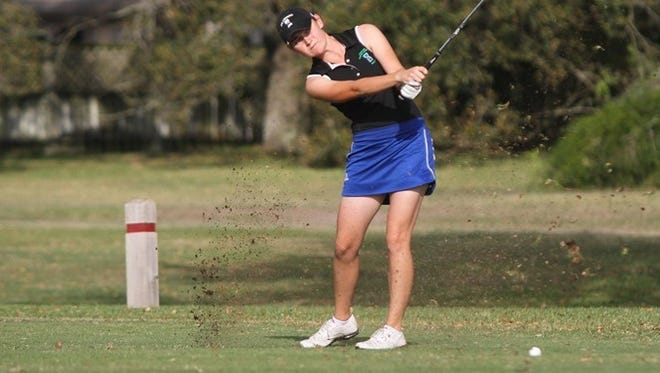 Texas A&M-Corpus Christi's Olivia Lowe hits a shot from the fairway during the Islanders Classic on Tuesday at Corpus Christi Country Club.