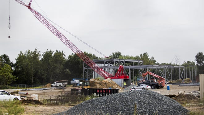 The construction site of the new library being built off of Del. 9 near New Castle last month.