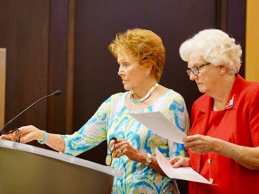 Maricopa County Recorder Helen Purcell, left, and County Eleections Director Karen Osborne