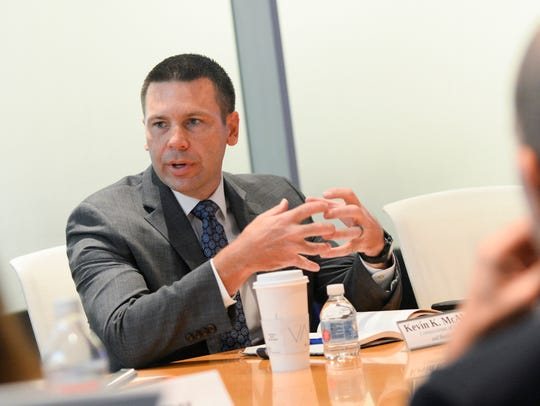 U.S. Customs and Border Protection Kevin McAleenan speaks with USA TODAY's Editorial Board on Sept. 17, 2018, in McLean, Va. (Photo: Christopher Powers, USA TODAY)