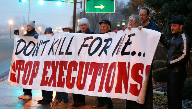 Protesting death penalty in Oklahoma City in January.