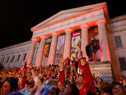 Caps Fans Celebrate Stanley Cup Final On Steps Of Nation's Living Room