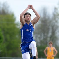Union County's Derek Dearth competes in the long jump during the track and field Knight Invitational Friday, April 29, 2016 at Northeastern High School in Fountain City.