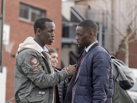 "Micheal Ward stars as Marco, left, and Stephen Odubola as Timmy in ""Blue Story."""