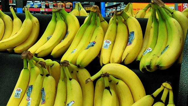 Slightly green bananas await purchase by people who are young enough to live to see them ripen.