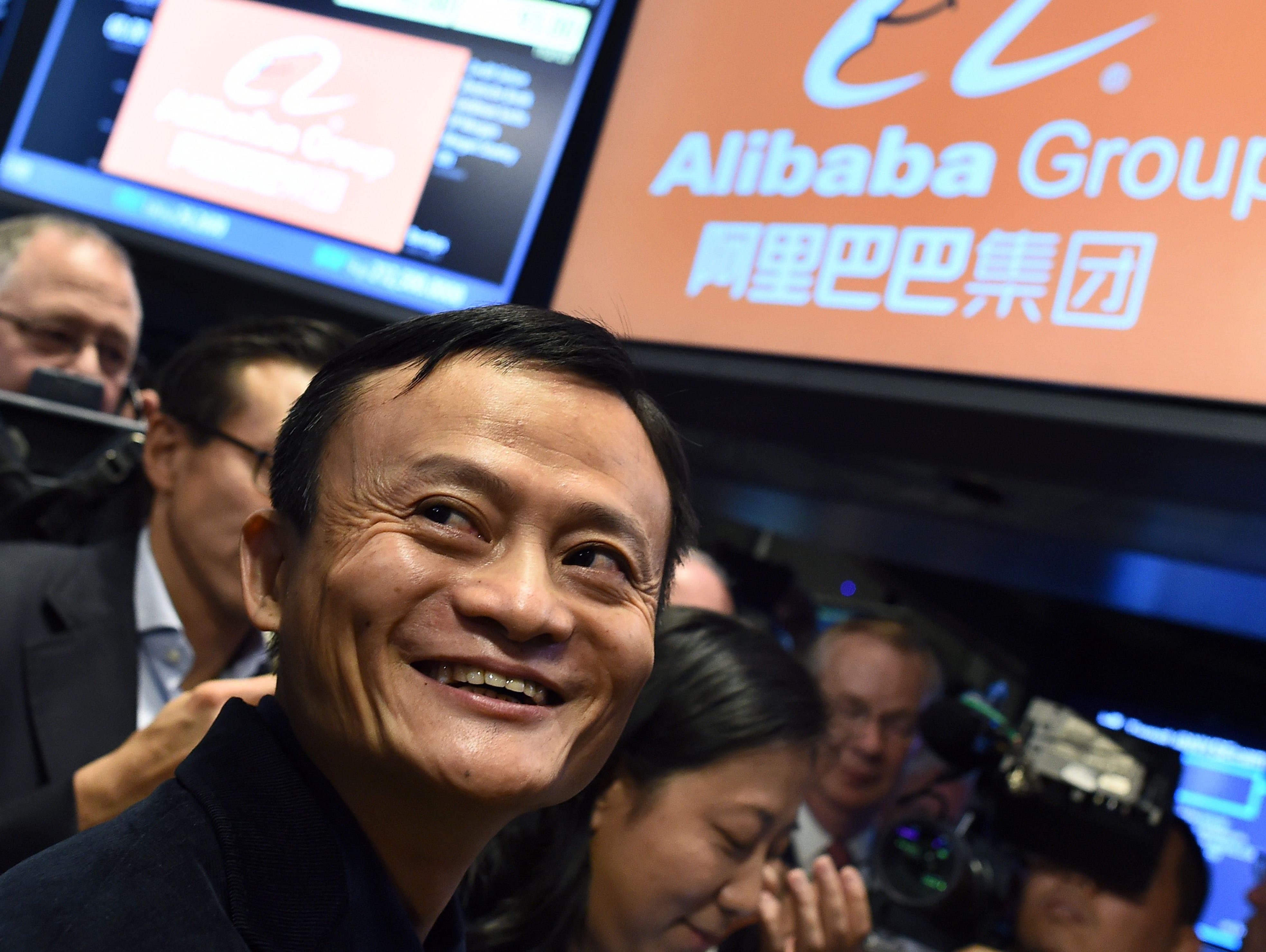 This September 19, 2014 file photo shows Chinese online retail giant Alibaba founder Jack Ma as he smiles  waiting for the trading to open on the floor at the New York Stock Exchange in New York.