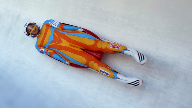 Kate Hansen makes her way down the track during the United States luge team trials on Sunday in Park City, Utah.
