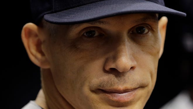 New York Yankees manager Joe Girardi during the first inning of a baseball game against the Tampa Bay Rays Sunday, May 29, 2016, in St. Petersburg, Fla.