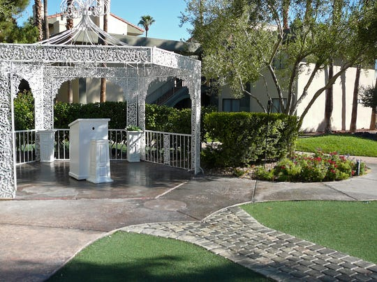 Alexis Park Resort Hotel is unusual because it doesn't have a casino, and the gazebo is a popular spot for wedding ceremonies.
