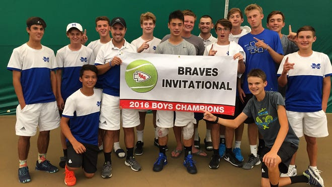 The Memorial High boys' tennis team poses after winning the Terre Haute South Invitational on Sept. 10, 2016.