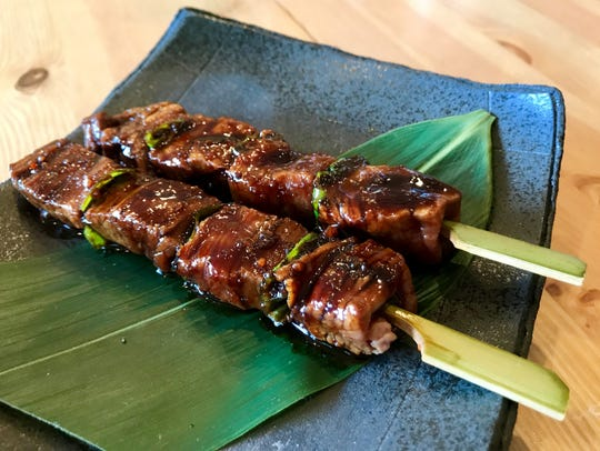 Black Angus tenderloin on skewers is one of the small